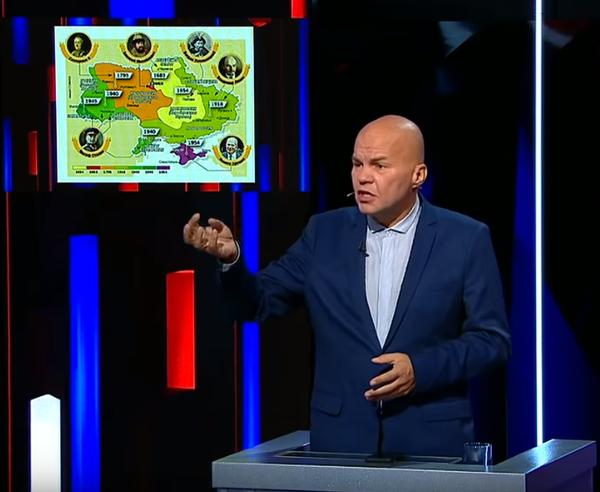 Соловьев показал украинским политологам карту на которой видно сколько россия подарила территорий Украине