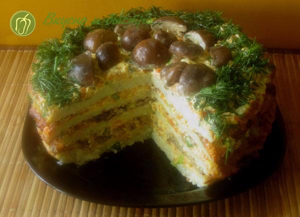 Торт из кабачков и баклажан с грибами - великолепный результат!
