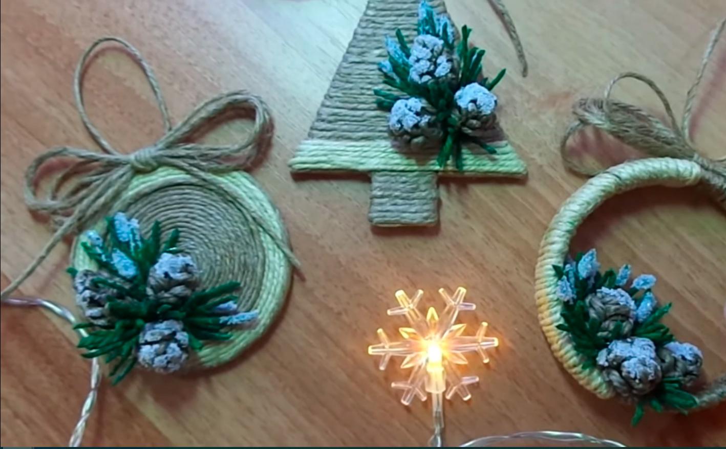 Три идеи из джута - Новогодние игрушки своими руками.