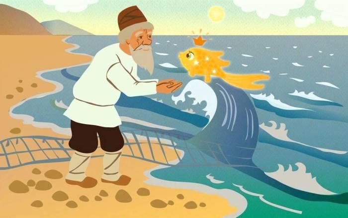 «Сказка о рыбаке и рыке» - сюжет, позаимствованный у братьев Гримм.