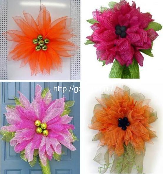 Поделки из упаковочной сетки для цветов 45