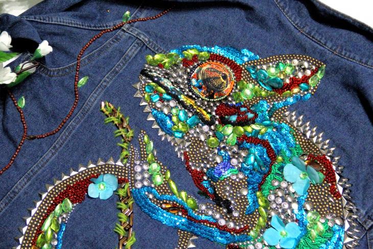 Ручная вышивка и декор на джинсовых изделиях (трафик)