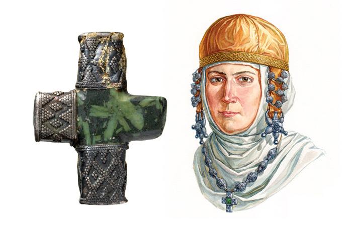 Крест-корсунчик; XIII в. Материал: металл серебро, серпентин; техника: зернь, резьба по камню, скань, тиснение (басма)