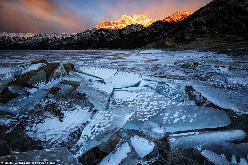 Замерзшее озеро Эйбрахам в Канаде в мире, красивые фото, красивый вид, пейзажи, природа, путешествия, фото, фотографы