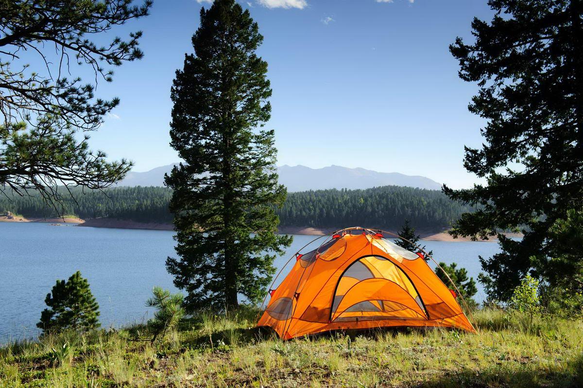 лес, озеро, палатка