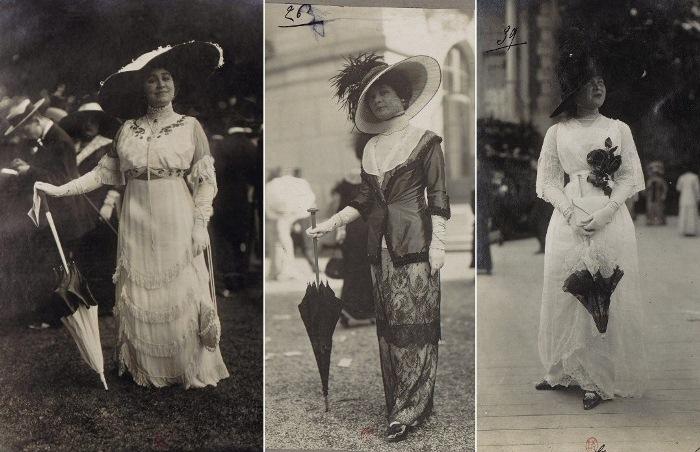Ретрофотографии француженок, сделанные на показе мод на ипподроме в начале XX века