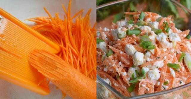 Аппетитный и сочный салат из моркови с творогом для легкого ужина…