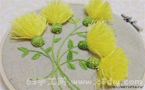 Объемная вышивка. Ромашки, одуванчики, хризантемы и мимоза (15) (500x311, 88Kb)
