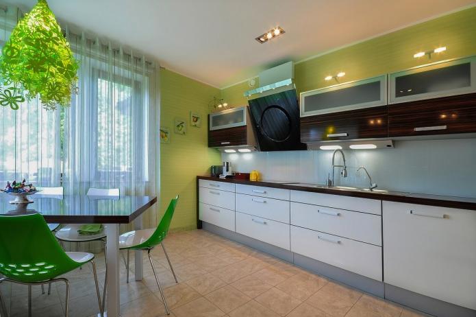 Зеленые обои в интерьере кухне