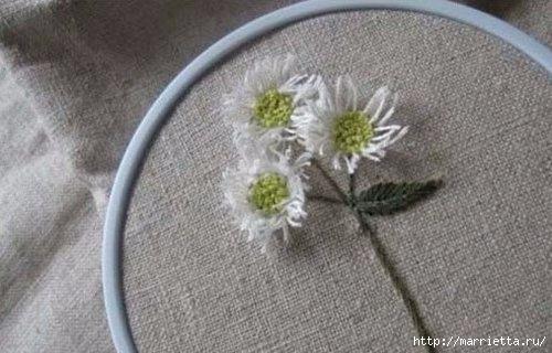Объемная вышивка. Ромашки, одуванчики, хризантемы и мимоза (3) (500x320, 103Kb)
