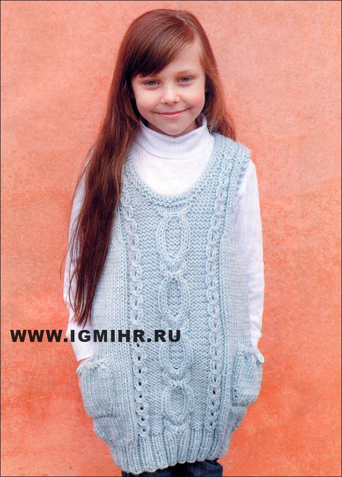 Платье спицами девочке 9 лет