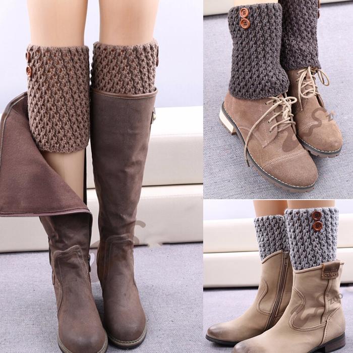 Вязаные украшения для зимней обуви