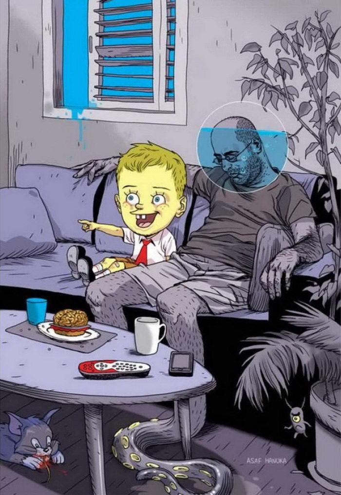 Жесткие иллюстрации Asaf Hanuka о современной жизни