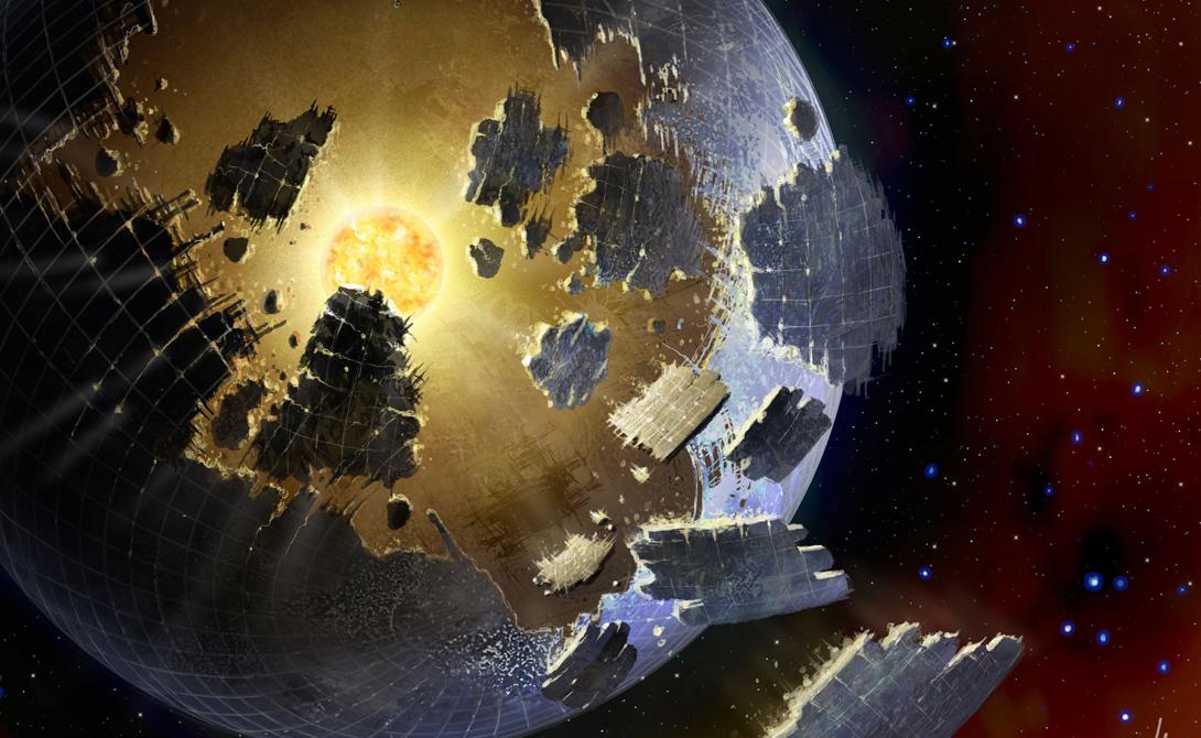 Сфера Дайсона Еще в далеком 1960 году гениальный американский физик Фриман Дайсон выдвинул математически обоснованную теорию о том, что любая цивилизация рано или поздно исчерпает свои запасы энергии. Откуда брать новые? Проще всего будет разработать технологию, извлекающую энергию прямо из звезд. Астрономы всего мира были вынуждены согласиться с безупречными выкладками физика. Была даже создана модель космической мегаструктуры, которая размещалась бы вокруг звезды и позволяла бы выкачивать из нее энергию — Сфера Дайсона.