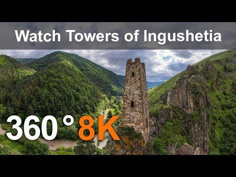Watch Towers of Ingushetia, Russia, 360 video aerial in 8K