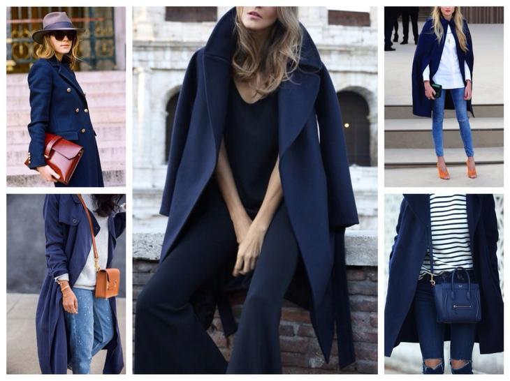 пальто синего цвета
