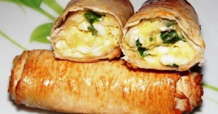 Весеннее угощение из хрустящего лаваша с яйцом и луком. Объедение!