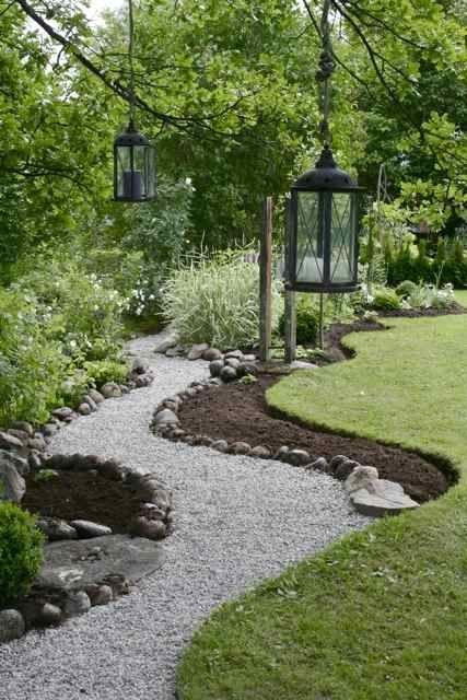 Дизайн садовой дорожки гравийной засыпкой