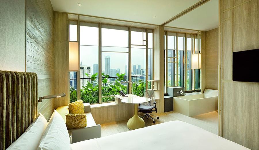 Parkroyal18 Уникальный сад на фасаде отеля в Сингапуре