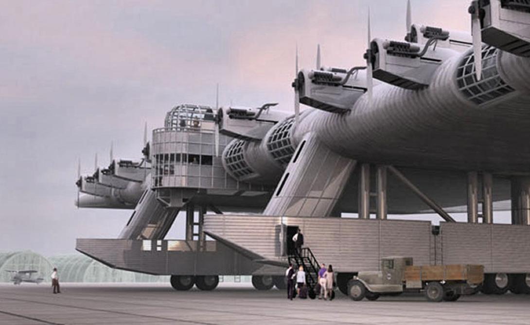 К-7 Проект этого динозавра собственноручно разработал бывший военный летчик, Константин Калинин. Конструкция самолета была довольно неортодоксальна, с небольшой центральной частью фюзеляжа и гигантскими, толстыми крыльми. К-7 мог перевозить экипаж из 19 человек, наряду с 16 тоннами боеприпасов и 120 десантниками, размещенными в гигантских крыльях. Первый и единственный прототип совершил 7 испытательных полетов, последний из которых закончился ужасной аварией, стоившей жизни двум десяткам людей.