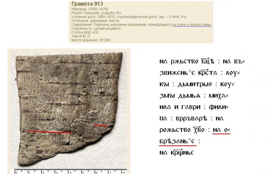 Какъ надпись на берестѣ позволяетъ опредѣлить дату