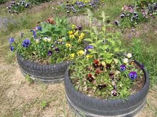 клумба для цветов из шин