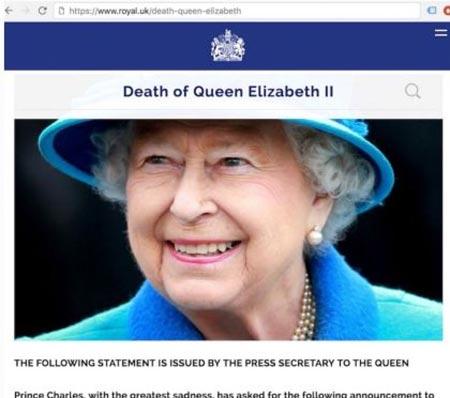 Сайт королевской семьи опубликовал сообщение о смерти Елизаветы II