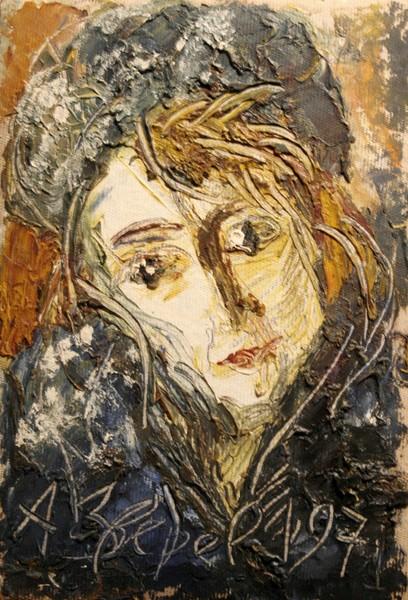 Фото Анатолий Зверев.Портрет Асеевой в шапке.1971 г.