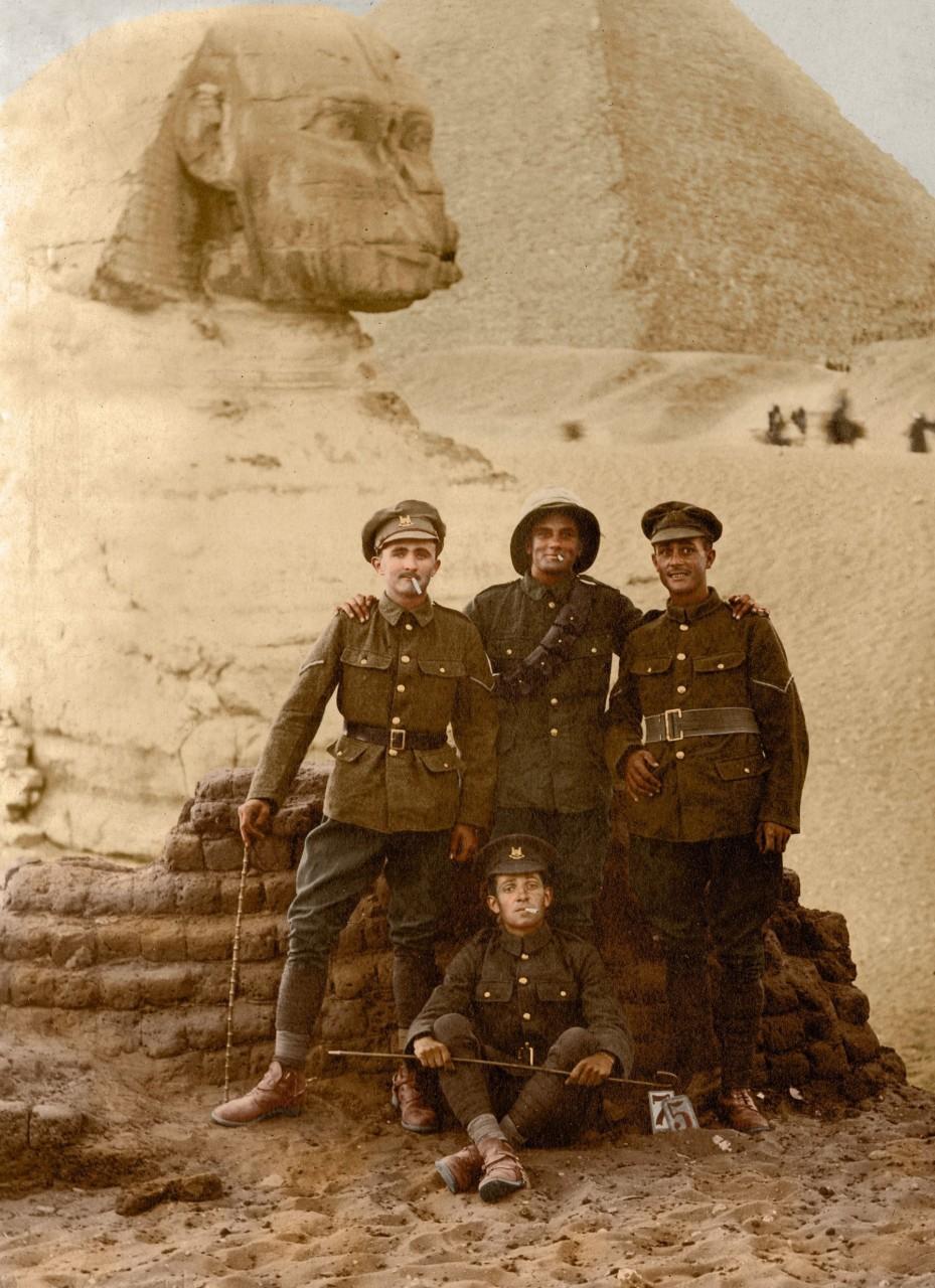Солдаты Египетской экспедиционной армии архивное фото, колоризация, колоризация фотографий, колоризированные снимки, первая мировая, первая мировая война, фото войны