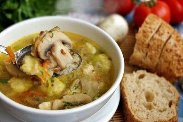 Гречневый суп с грибами и картофельными клёцками!