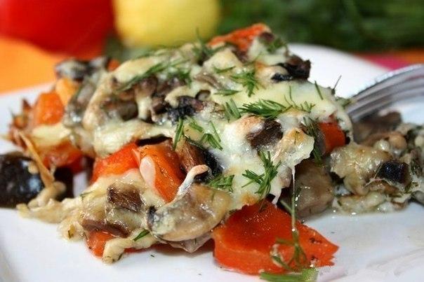 Запеченные баклажаны с грибами и перцем в нежной сливочной заливке и сырной корочкой