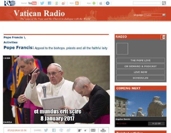 Новое зашифрованное послание от Радио Ватикана