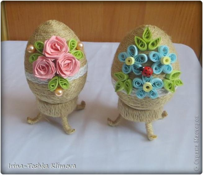 Пасхальные яйца из шпагата (мастер-класс)