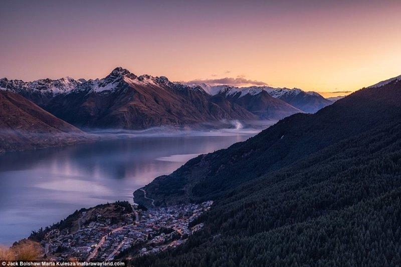 Город Куинстаун, Новая Зеландия. Вид с горы Бен Ломонд. в мире, красивые фото, красивый вид, пейзажи, природа, путешествия, фото, фотографы