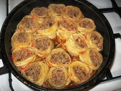 Лапша гнезда с фаршем в духовке рецепт пошаговый
