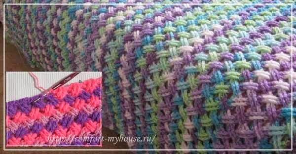Рельефные перекрещенные столбики крючком в узорах для пледов, сумок, подушек