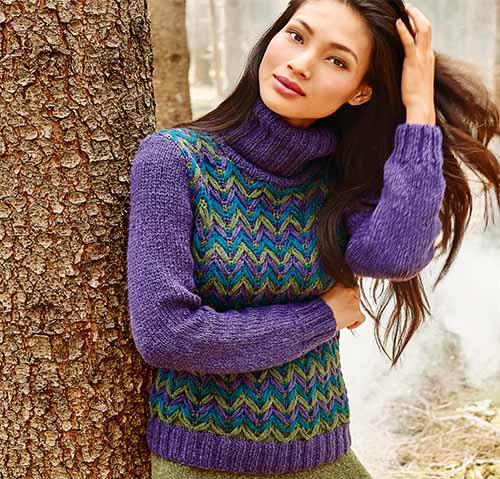 свитер с цветным узором