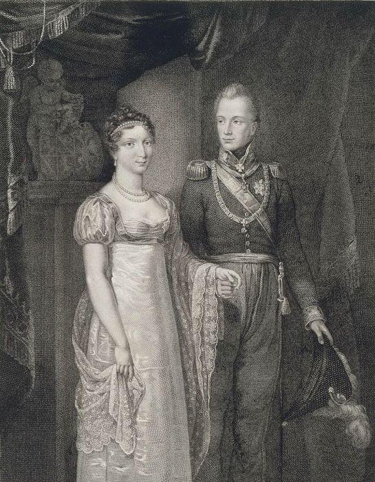 Велин П. Портрет принца Вильгельма Оранского с женой Анной Павловной. Гравюра первая половина 19 в. / Фото: www.beesona.ru