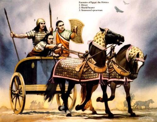 Враги Египта - хетты: 1 - колесничий; 2 - щитоносец; 3 - тяжелый копейщик.