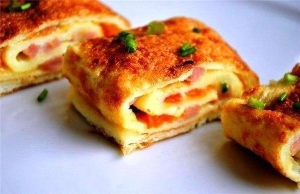 Создайте себе прекрасное настроение на весь день — вкусный омлет с ветчиной и сыром!