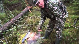 Костер в сыром лесу. Огонь без спичек