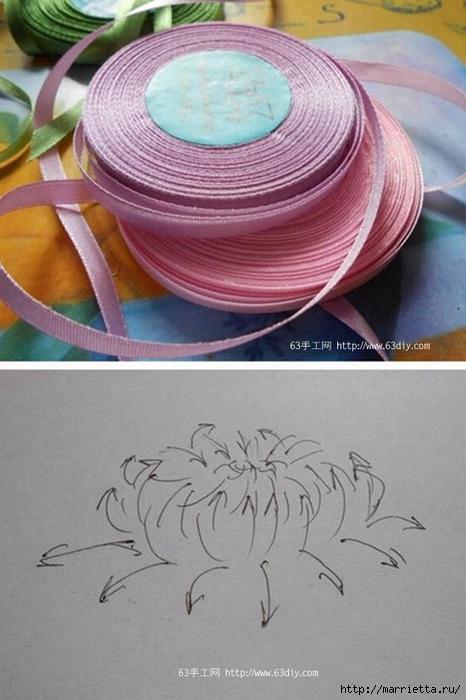 Объемная вышивка. Ромашки, одуванчики, хризантемы и мимоза (24) (466x700, 207Kb)