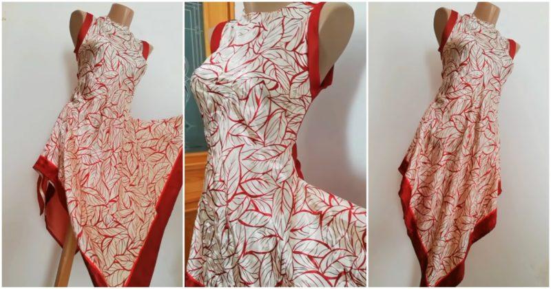 Простой способ сделать красивое платье на лето из двух платков
