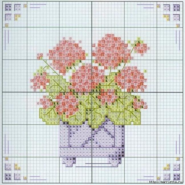 Схемы миниатюрной вышивки. ЦВЕТЫ (1) (649x652, 355Kb)