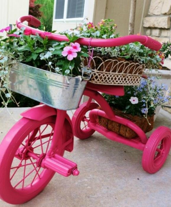 Велосипед из кашпо своими руками фото