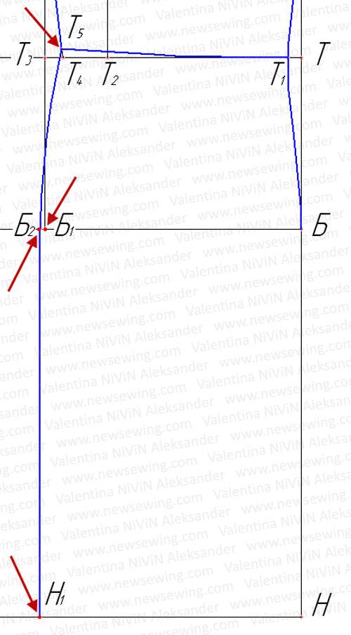Построение боковой линии спинки в области бедер.