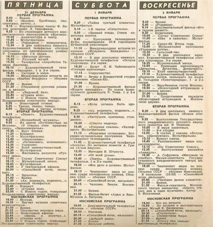 Программа телепередач 1982/83
