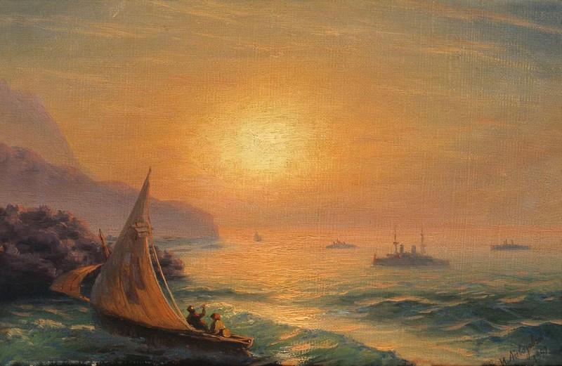 Закат на море 1899 23х35. Иван Константинович Айвазовский