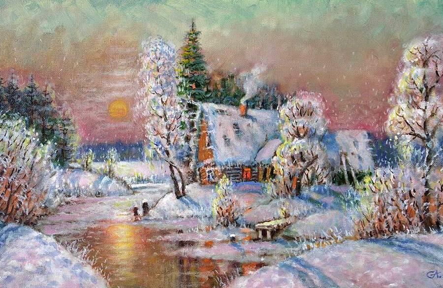 Деревенские пейзажи Анатолия Соловьева