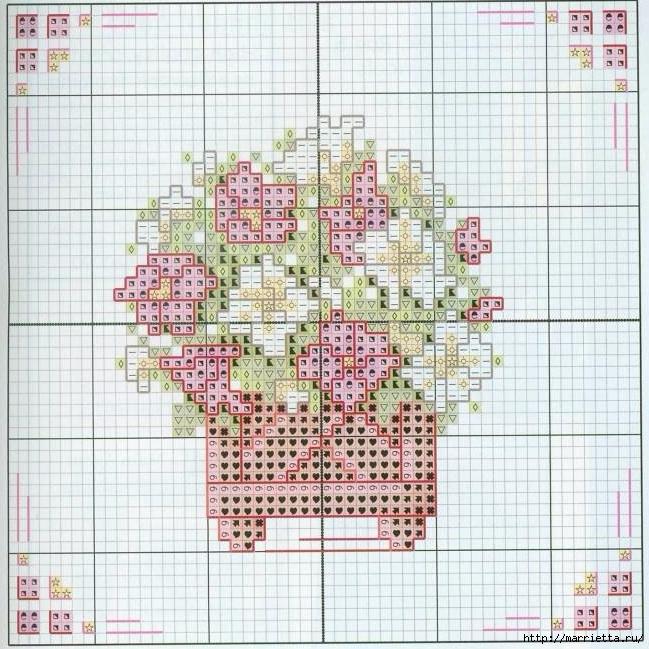 Схемы миниатюрной вышивки. ЦВЕТЫ (5) (649x649, 314Kb)